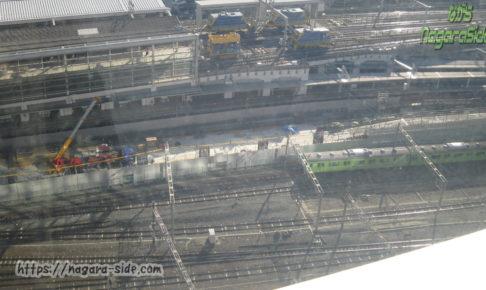 京都駅ビルから新幹線・近鉄・奈良線を望む