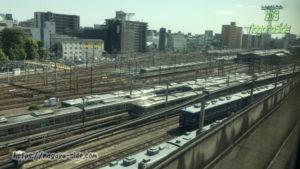 山陽新幹線から望む網干総合車両所宮原支所