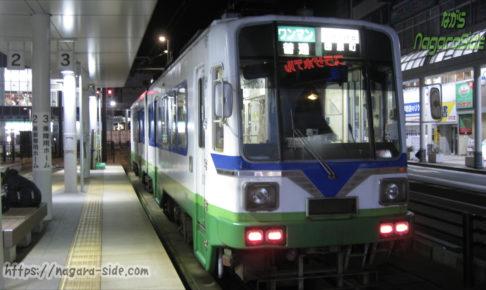 福井駅停留場に停車する旧美濃町線車両