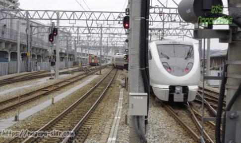 地上駅時代の富山駅から出発するサンダーバード