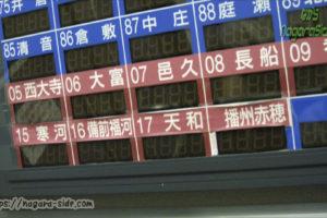 テープで補修された料金表の駅名