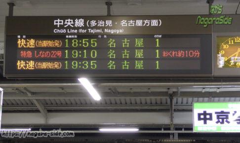 中津川駅の発車標