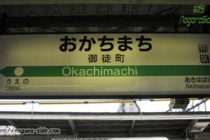 御徒町駅の駅名標