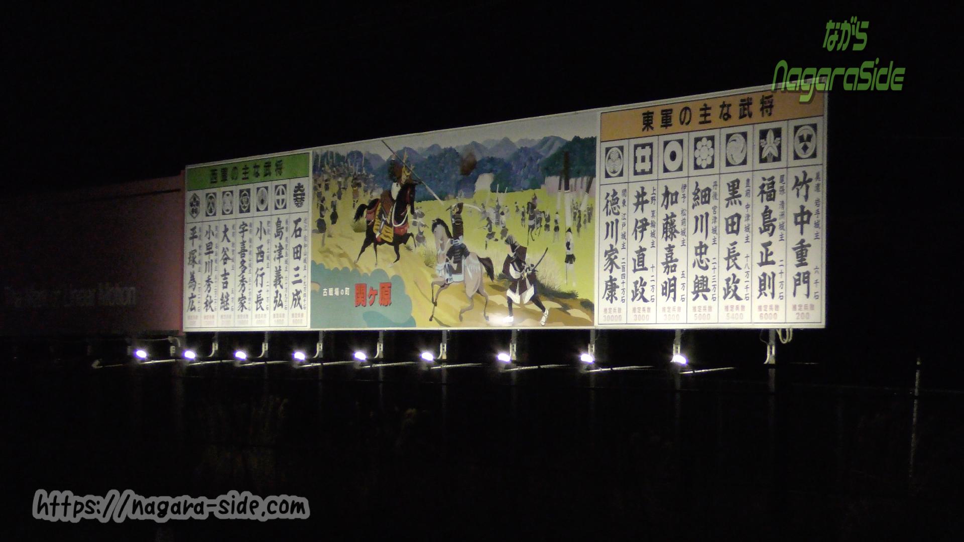 関ヶ原駅の武将名簿看板