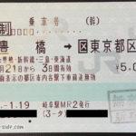 豊橋から東京都内への乗車券