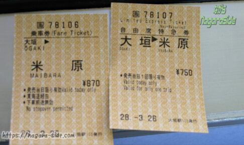 短距離用券売機で購入した乗車券と自由席特急券