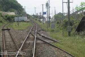 土砂崩れで副本線が塞がった際の山陰本線田儀駅