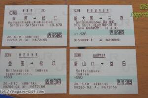 JR西日本株主優待券で発行したきっぷ