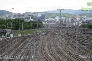 京都鉄道博物館から望む京都貨物駅と京都駅