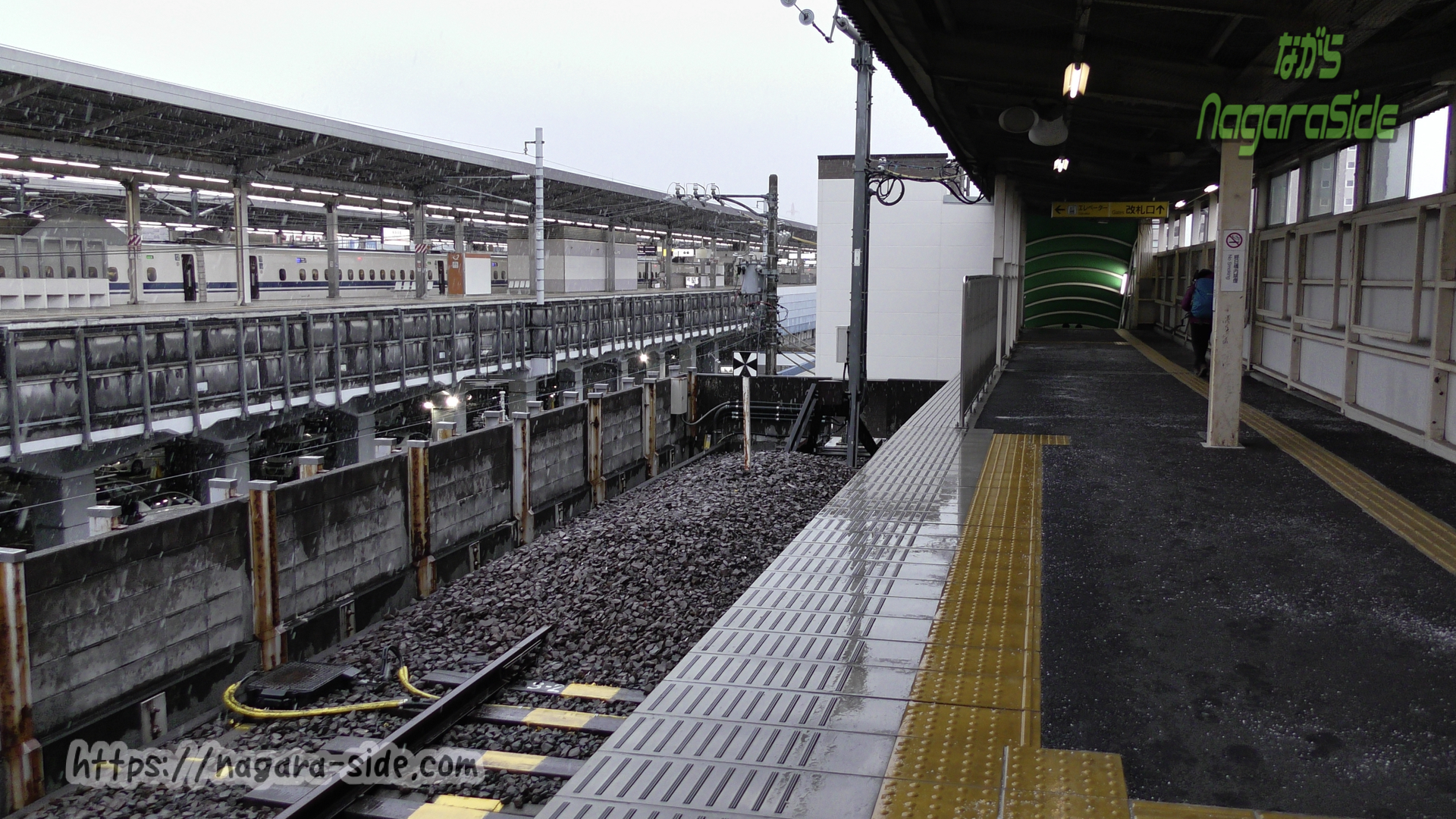 かつて事故があった新羽島駅の車止め