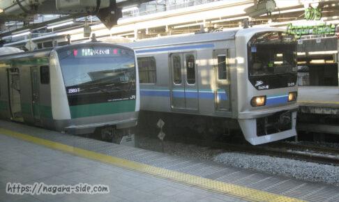 大崎駅に停車する埼京線とりんかい線の車両