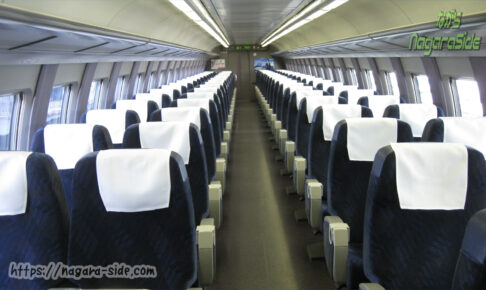 改造された500系新幹線の普通車指定席