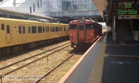 徳山駅を出発する岩徳線のキハ40