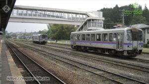 三次駅構内でポツンと並ぶキハ120
