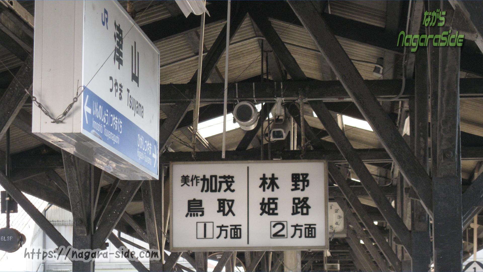 津山駅のホーム案内板