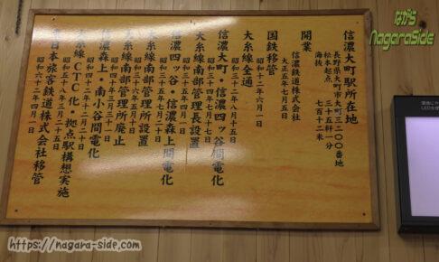 改札前に駅の歴史が掲げてある信濃大町駅