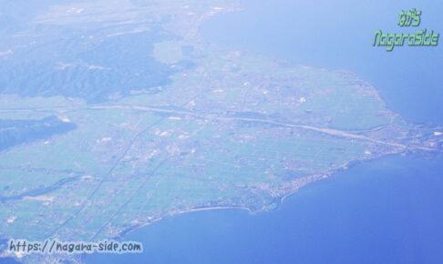 上空から見る湖西線安曇川駅・新旭駅