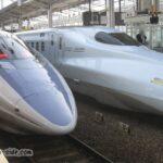岡山駅での500系こだまとN700系さくら