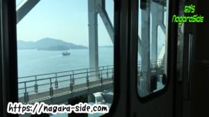 瀬戸大橋を渡るマリンライナーの車窓