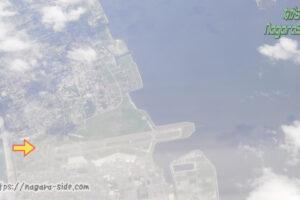 上空から見た米子空港と境線