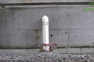 塩尻駅にある篠ノ井線0キロポスト